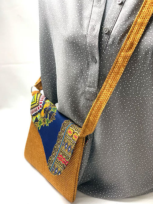cross body bag yellow and blue
