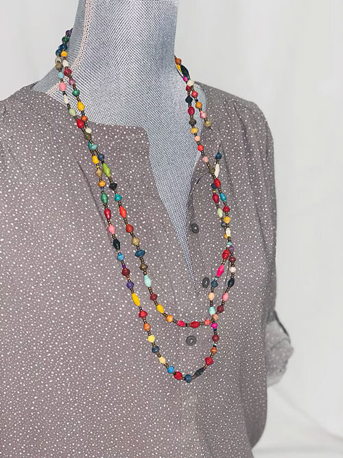 double layer long beaded necklaces