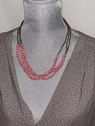 3-strand pink beaded necklace