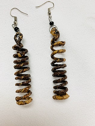 yellow and brown spiral dangle earrings