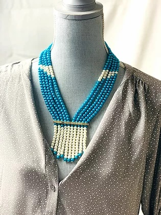 Blue and white handmade beaded necklace