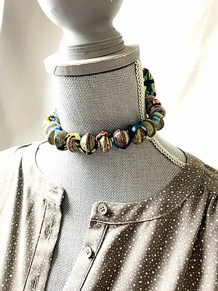 "Multicolor ""Sezibwa"" necklace on mannikin"