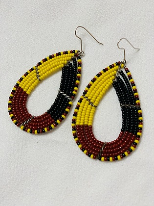 Gold and Garnet beaded large tear drop earrings