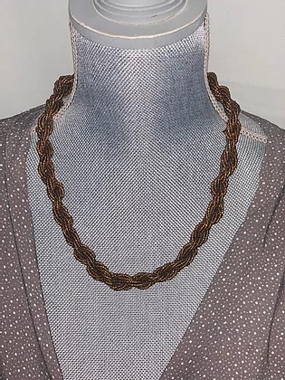 braided brown beaded necklace
