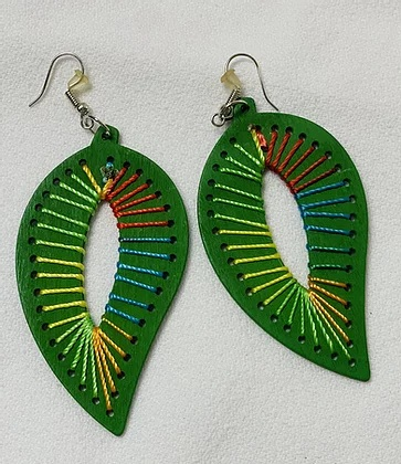 Green tear drop earrings with hand colorful hand stitching