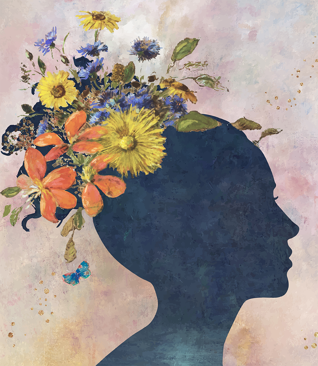 blue silhouette of woman's face with flowers as hair on pink background
